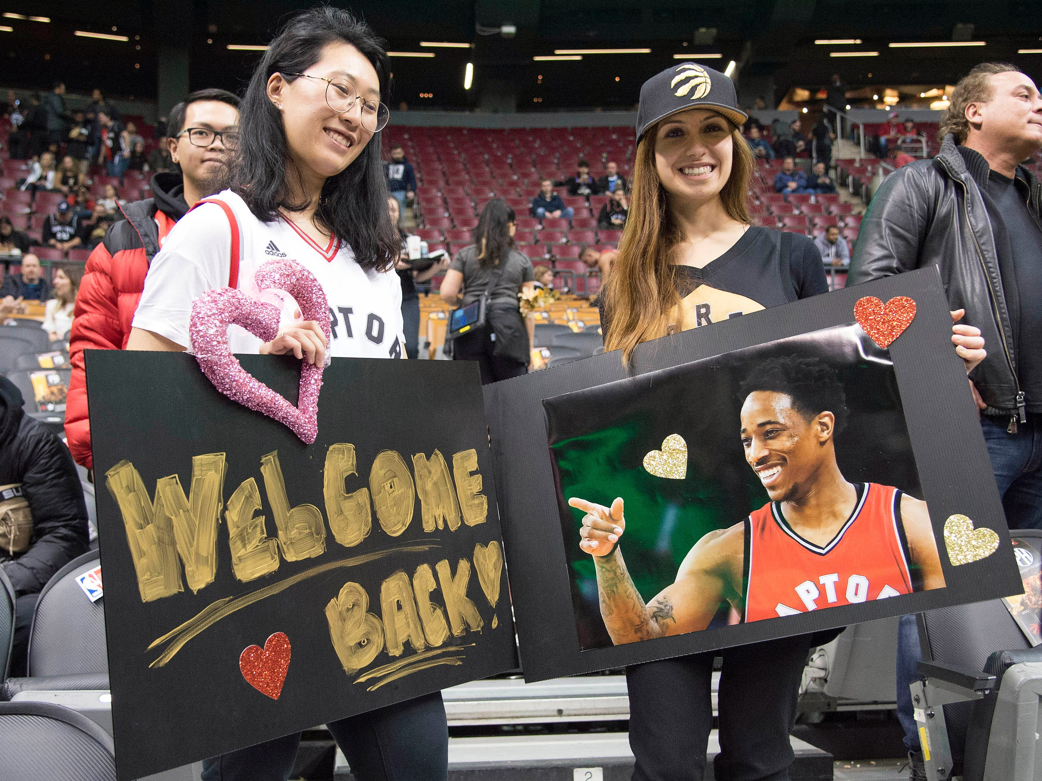 Feb. 22: Raptors fans welcome DeMar DeRozan back to Toronto for the first time since he was traded to the Spurs.