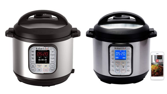 The Instant Pot DUO60 (pictured left) and the Smart Wifi (pictured right) are both on sale, and both are amazing.