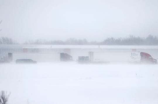 Vehicles backed up along 41 southbound just south of County Road G because of a multicar crash Sunday, Feb. 24, 2019, in Neenah, Wis.Danny Damiani/USA TODAY NETWORK-Wisconsin