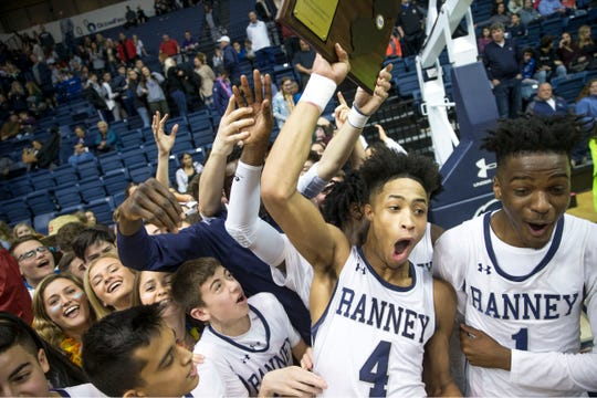 Ranney School defeats Manasquan in the 2019 Shore Conference Tournament final held at Monmouth University. Ranney celebrates the victory. 