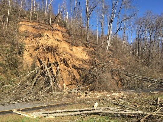 A slide on the westbound side of U.S. 74 on Sunday morning in Jackson County has temporarily diverted traffic just west of the Blue Ridge Parkway.