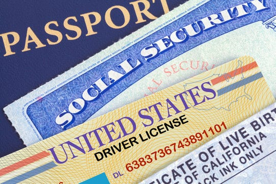 USA Passport with Social Security Card, Drivers License and Birth Certificate.