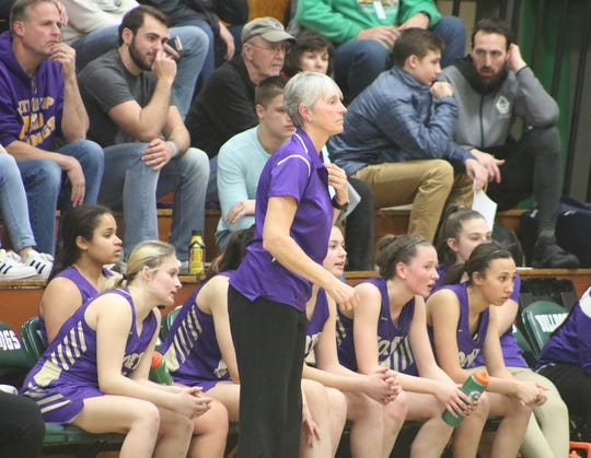 North Kitsap girls basketball coach Penny Gienger looks on during the fourth quarter of Saturday's regional game against Anacortes.