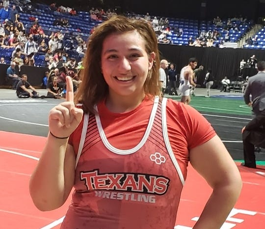 Ray senior Brooklyn Moreno-Arispe won the 5A girls 215-pound state championship at the UIL State Wrestling Tournament on Saturday, Feb. 23, 2019 at the Berry Center in Cypress.