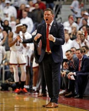 Texas Tech coach Chris Beard yells to players during the first half of an NCAA college basketball game against Kansas, Saturday, Feb. 23, 2019, in Lubbock, Texas. (AP Photo/Brad Tollefson)