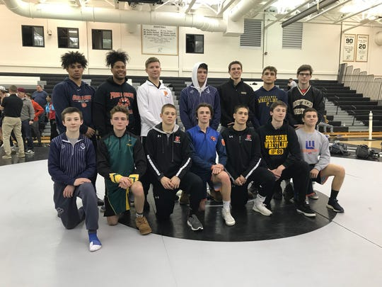 The 2019 Region 8 wrestling champions. Top row (from left): Overbrook's Deshon Alexander, Penns Grove's Tyreke Brown, Pitman's Zane Coles, St. Augustine's MIke Misita, Southern's John Stout, Clayton's Jacob Rodriguez and Southern's Nicholas O'Connell. Bottom row (From left): St. Augustine's Ryan DeFoney, Clearview's Carmen Giumarello, Kingsway's McKenzie Bell, Woodstown's Hunter Gandy, Kingsway's Finnegan McFadden, Southern's Robert Woodcock and Woodstown's Jack Prendergast.