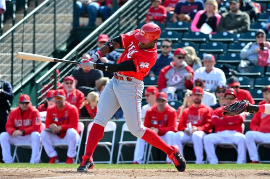 Cincinnati Reds center fielder Taylor Trammell (78) singles during the second inning against the Los Angeles Angels at Tempe Diablo Stadium.