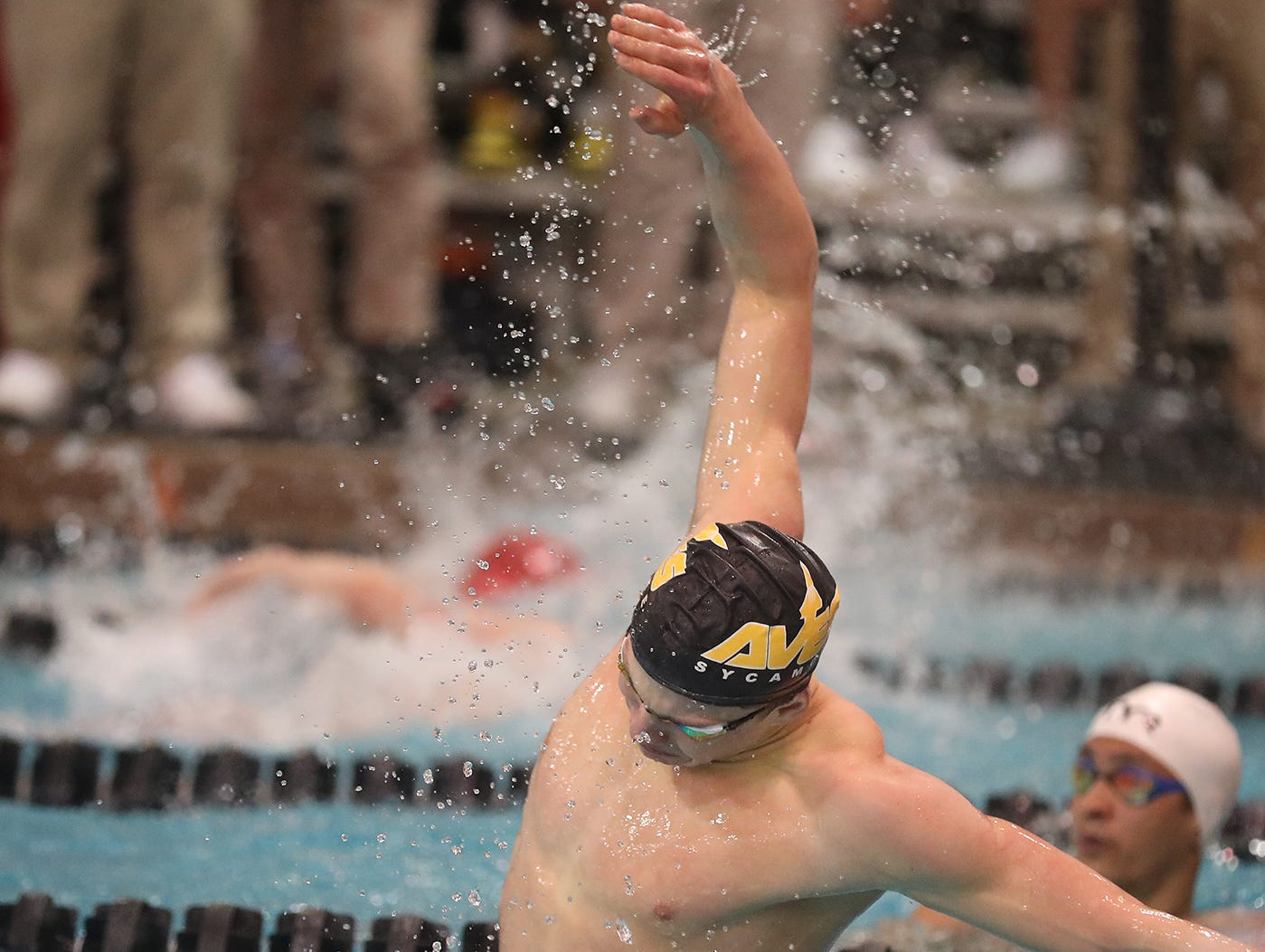 Sycamore state champion Carson Foster reacts during the OHSAA swimming and diving championships in Canton, Ohio, Friday Feb. 23, 2019.