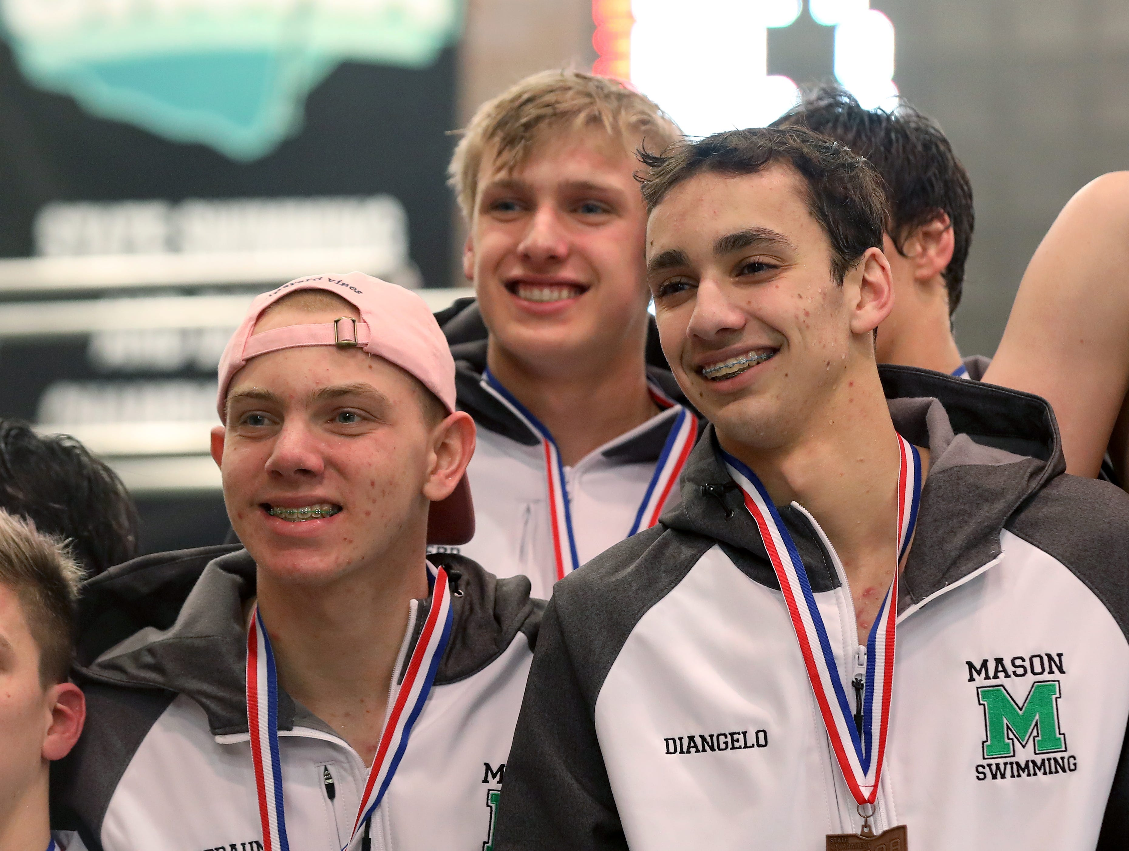 Mason boys 200 medley relay team finished fourth at the OHSAA state swimming and diving championships in Canton Ohio, Friday, Feb. 23, 2019.