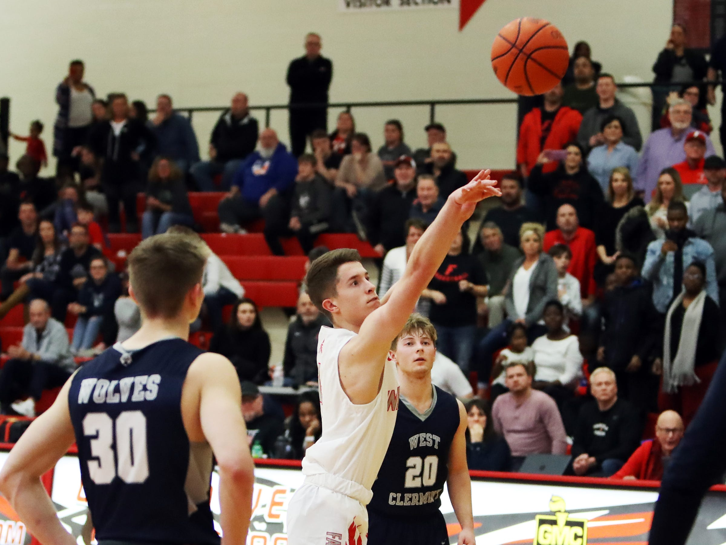 Fairfield guard Colin Singer ices the game with this free throw. Fairfield defeated West Clermont 49-46.