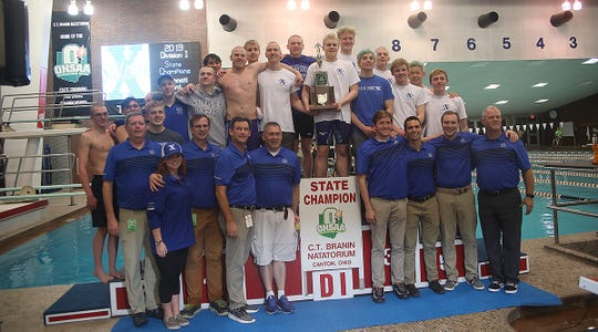The St. Xavier Bombers win the boys Division I state swimming championship in Canton, Ohio, Friday, Feb 23, 2019.