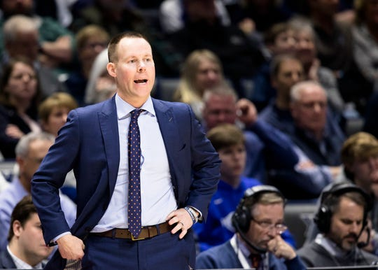 Xavier Musketeers head coach Travis Steele talks to his players in the second half of the NCAA men's basketball game between Xavier Musketeers and Villanova Wildcats on Saturday, Feb. 24, 2019, at Cintas Center in Cincinnati. Xavier Musketeers defeated Villanova Wildcats 66-54.