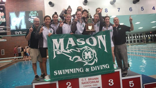 The Mason girls repeat as state team champions in the OHSAA swimming and diving championships in Canton, Ohio, Friday Feb. 23, 2019.