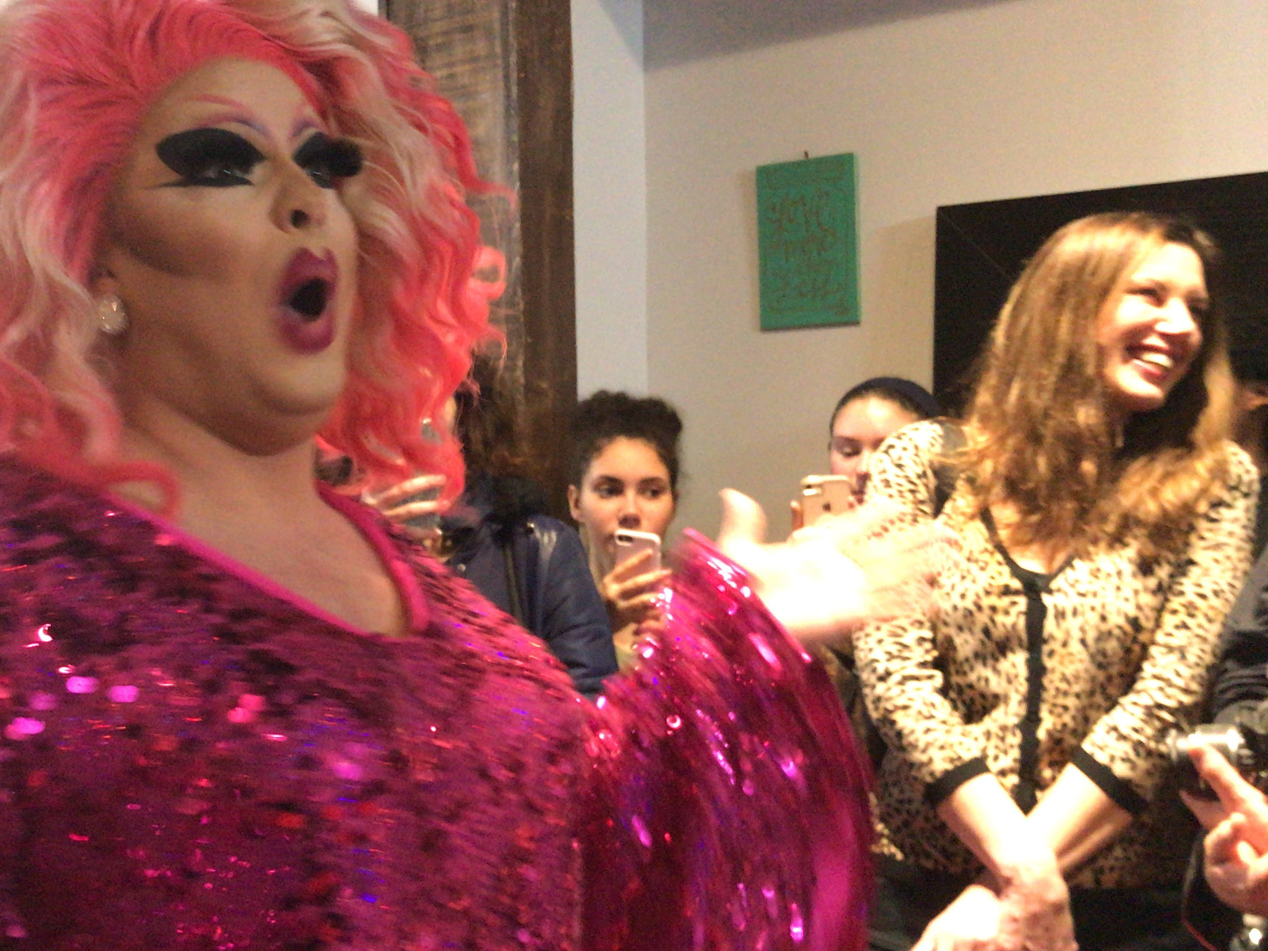 Somerville drag queen Pissi Myles at Illustrated Beauty in Somerville.