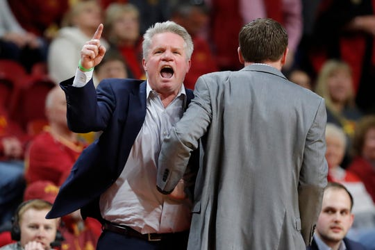 Iowa State head coach Bill Fennelly, left, reacts after being called for a technical foul during the second half of an NCAA college basketball game against Baylor, Saturday, Feb. 23, 2019, in Ames, Iowa.