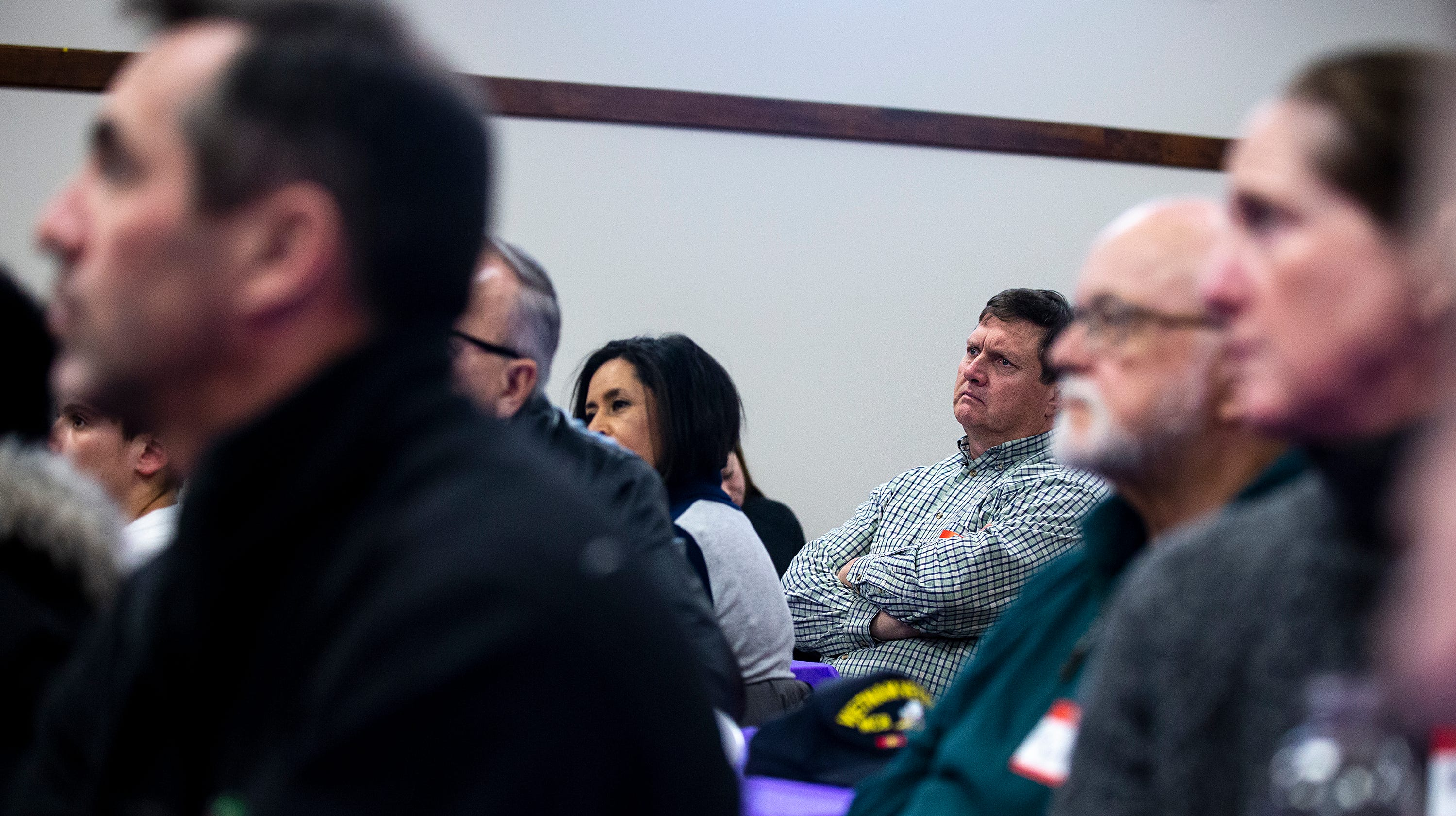 Iowans listen to New York City Mayor Bill de Blasio, who is considering a run for president, at an event hosted by the Asian & Latino Coalition on Sunday, Feb. 24, 2019, in Des Moines.