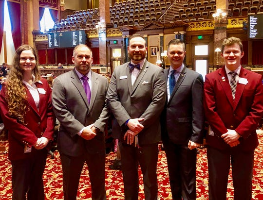 Senator Zach Nunn, R-Bondurant, welcomed pastor Trevor Pinegar from Federated Church in Bondurant to the Iowa Senate on Thursday afternoon, where he opened the Senate with a prayer. Senate Page Jackson Birdwell from Altoona led the Pledge of Allegiance.