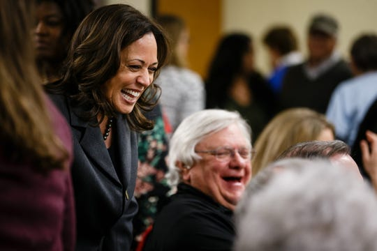 California Sen. Kamala Harris greets people before speaking at the Story County Democrats: Annual Soup Supper Fundraiser on Saturday, Feb. 23, 2019 in Ames.