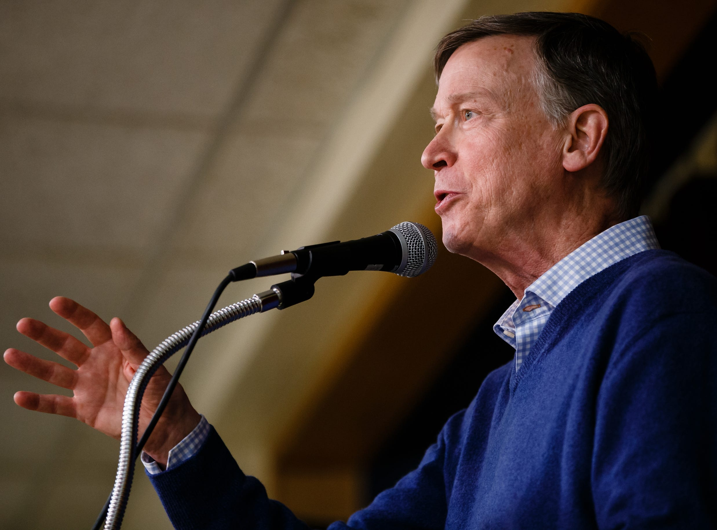 Former Governor of Colorado John Hickenlooper speaks during the Story County Democrats: Annual Soup Supper Fundraiser on Saturday, Feb. 23, 2019 in Ames.