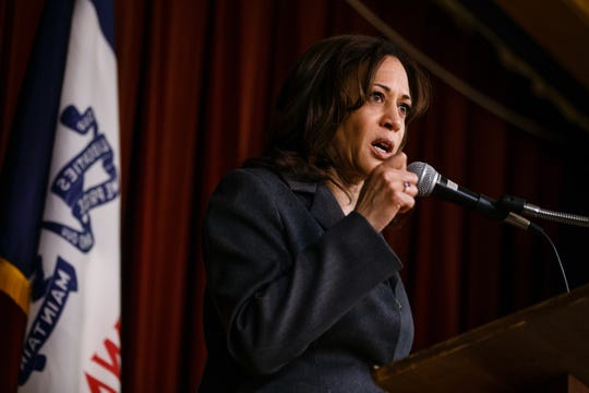 California Sen. Kamala Harris speaks during the Story County Democrats: Annual Soup Supper Fundraiser on Saturday, Feb. 23, 2019 in Ames.