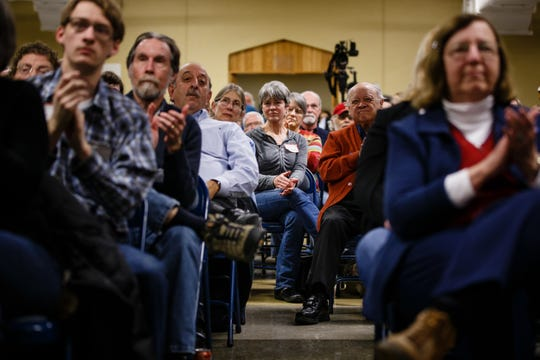 People listen as former Housing and Urban Development Secretary Julian Castro speaks during the Story County Democrats: Annual Soup Supper Fundraiser on Saturday, Feb. 23, 2019 in Ames.
