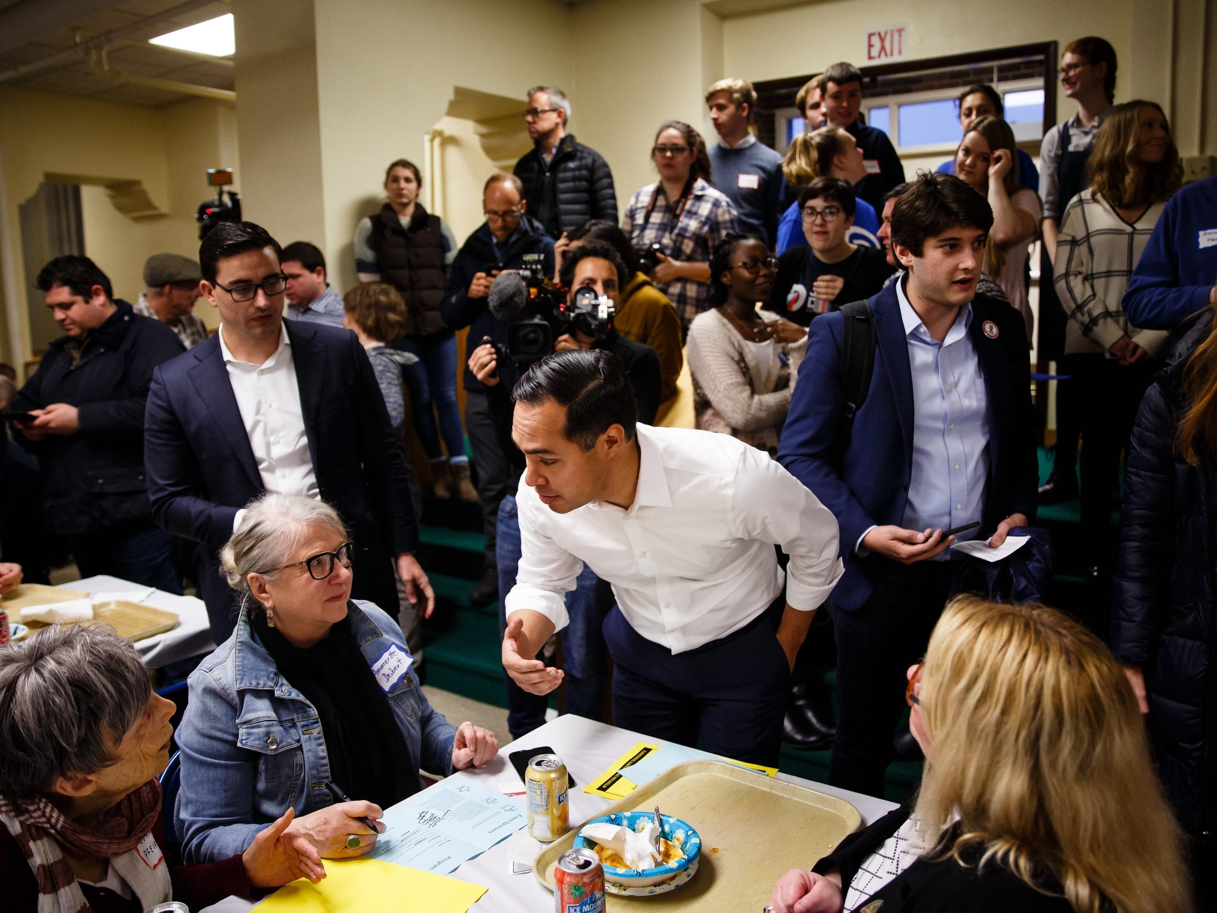 Former Housing and Urban Development Secretary Julian Castro talks to people before speaking at the Story County Democrats: Annual Soup Supper Fundraiser on Saturday, Feb. 23, 2019 in Ames.
