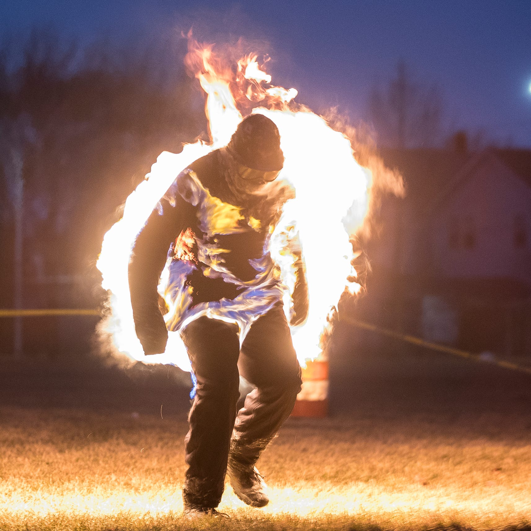 Man attempts world record for jumping jacks while on fire in Hamtramck