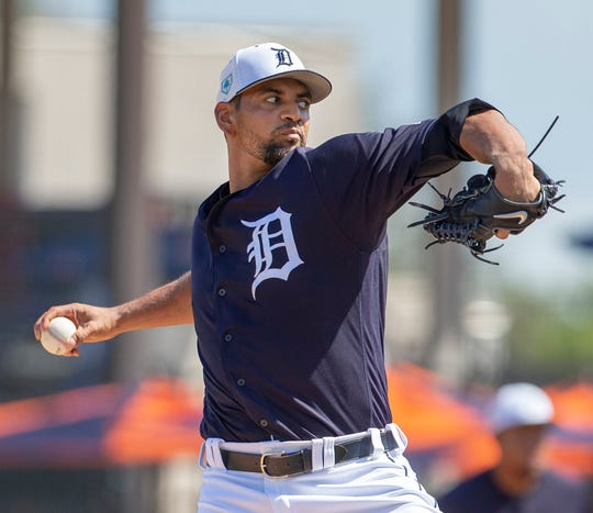 Tigers starting pitcher Tyson Ross throws the ball during the first inning against the Phillies at Publix Field at Joker Marchant Stadium on Sunday, Feb. 24, 2019.