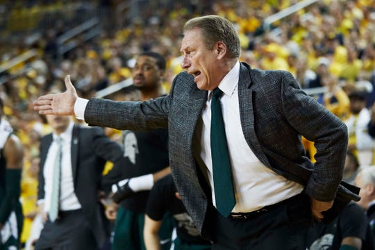 Michigan State coach Tom Izzo reacts during the first half against Michigan, Feb. 24, 2019 at the Crisler Center in Ann Arbor.