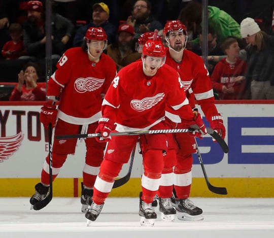 Red Wings right wing Gustav Nyquist skates toward the bench after scoring a goal during the first period on Sunday, Feb. 24, 2019, at Little Caesars Arena.