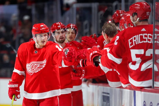 Gustav Nyquist celebrates his last goal with the Detroit Red Wings  on Sunday, Feb. 24, 2019, at Little Caesars Arena.