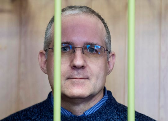 Paul Whelan, a former U.S. Marine, who was arrested in Moscow at the end of last year, attends a hearing in a court in Moscow, Russia, Friday, Feb. 22, 2019. A Moscow court has extended arrest for the American who was detained at the end of December for alleged spying.
