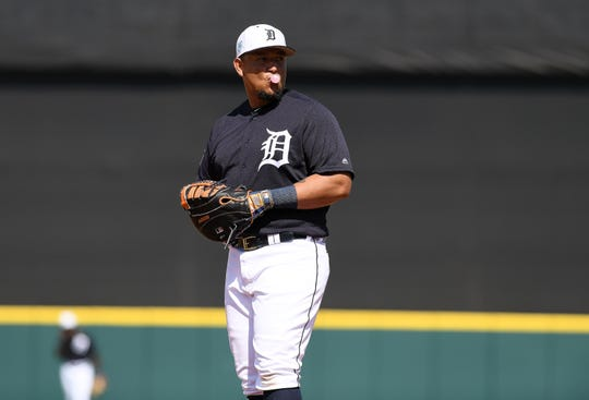 Tigers first baseman Miguel Cabrera looks to the dugout during Sunday's game against the Phillies.