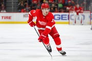 Detroit Red Wings right wing Filip Zadina skates against the San Jose Sharks in the second period.