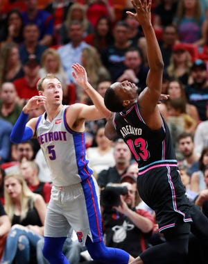 Pistons guard Luke Kennard held the Heat's Dwyane Wade to 15 points in Detroit's 119-96 win Saturday.