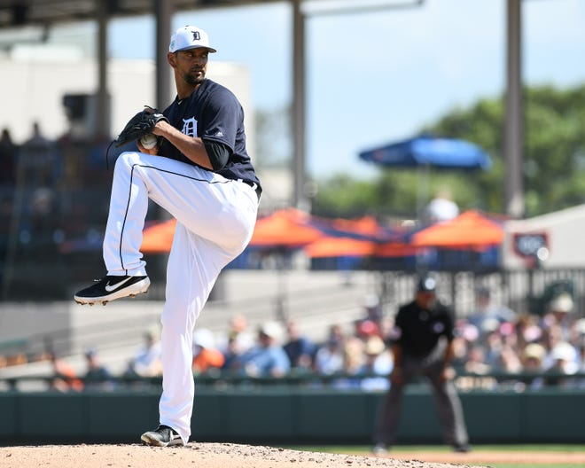 Tigers pitcher Tyson Ross works in the second inning Sunday against the Phillies.
