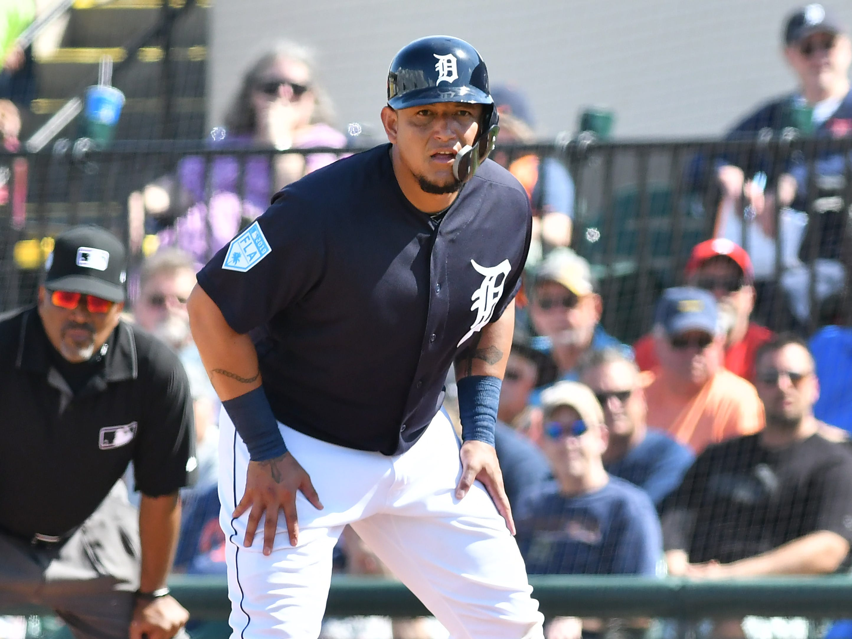 Tigers' Miguel Cabrera on first after he walks in the second inning.