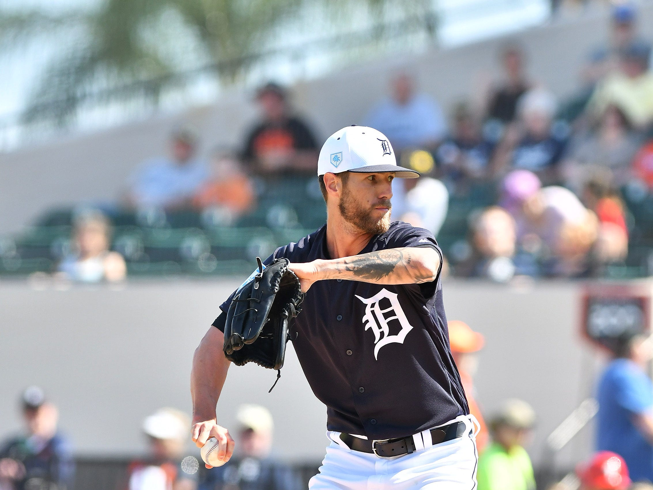 Tigers pitcher Shane Greene works in the third inning.