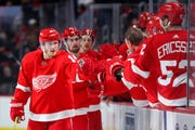 Red Wings right wing Gustav Nyquist, here celebrating his 16th goal on Sunday, is an unrestricted free agent at the end of the season and expected to be a prime trade target.