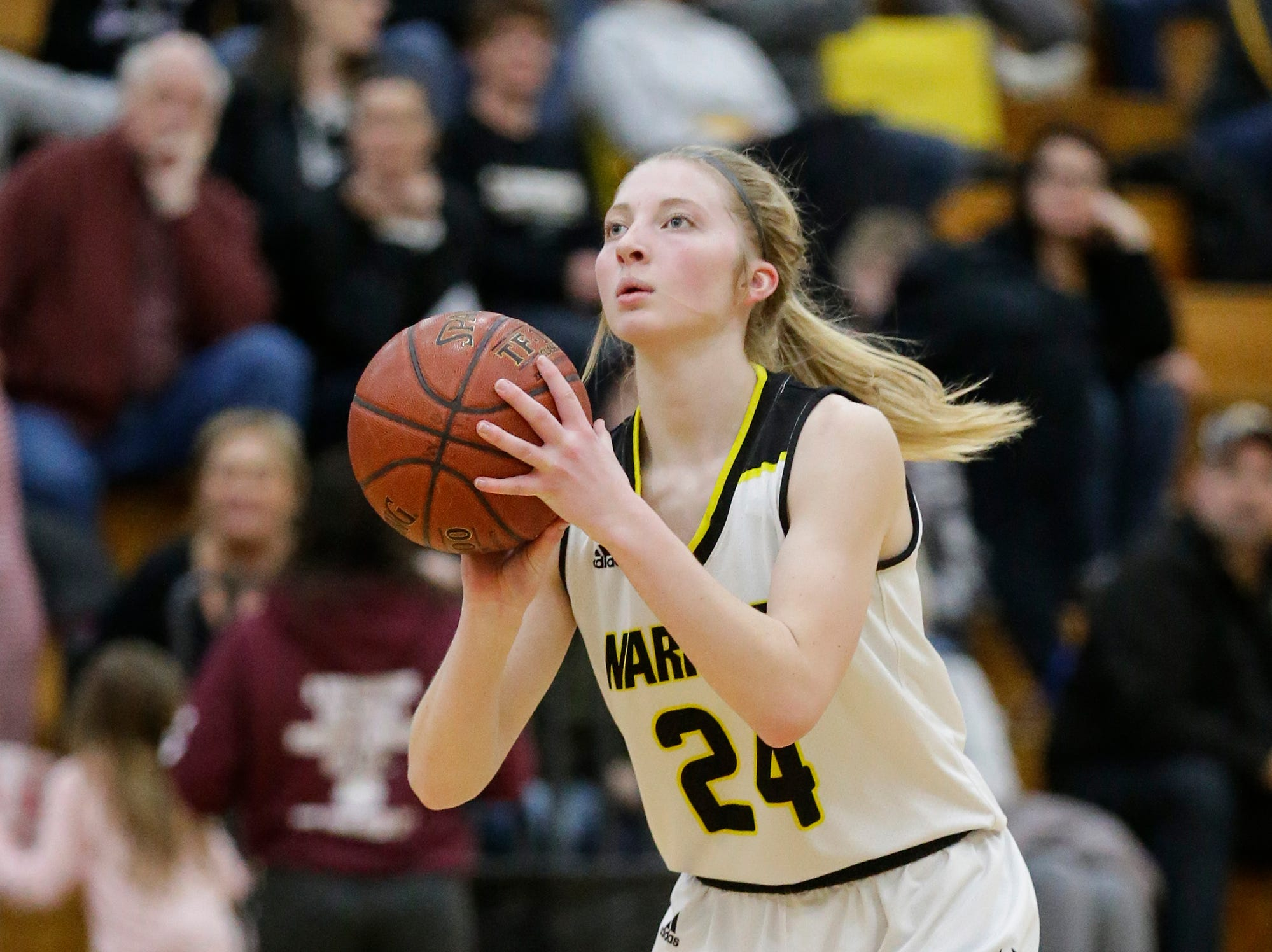 Waupun High School girls basketball's Peyton McGinnis (24) attempts a three pointer against Mayville High School Saturday, February 23, 2019 during their WIAA Division 4 sectional quarterfinal game in Waupun. Waupun won the game 62-45. Doug Raflik/USA TODAY NETWORK-Wisconsin