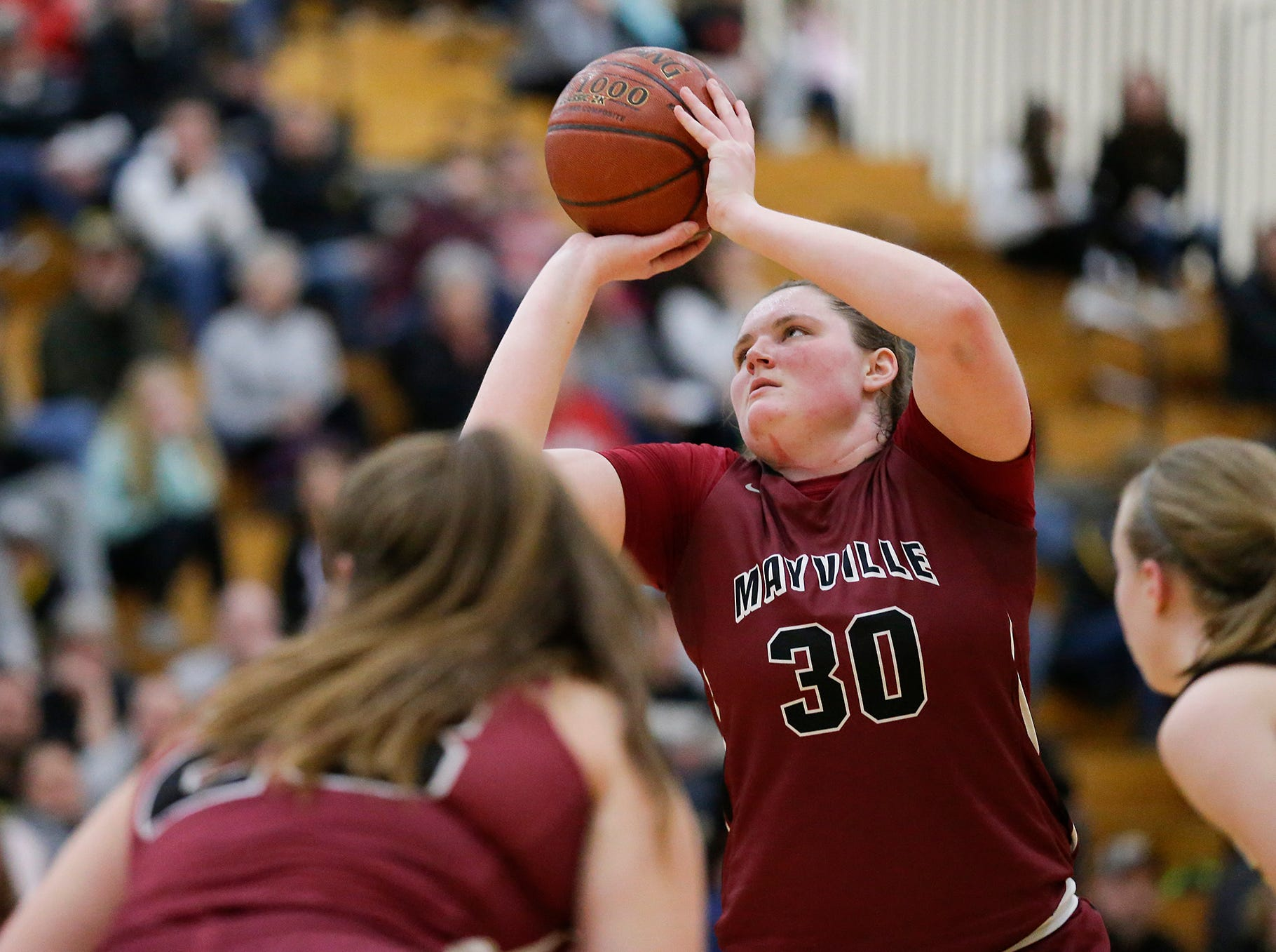 Mayville High School girls basketball's Sydney Schultz (30) attempts a free throw against Waupun High School Saturday, February 23, 2019 during their WIAA Division 4 sectional quarterfinal game in Waupun. Waupun won the game 62-45. Doug Raflik/USA TODAY NETWORK-Wisconsin