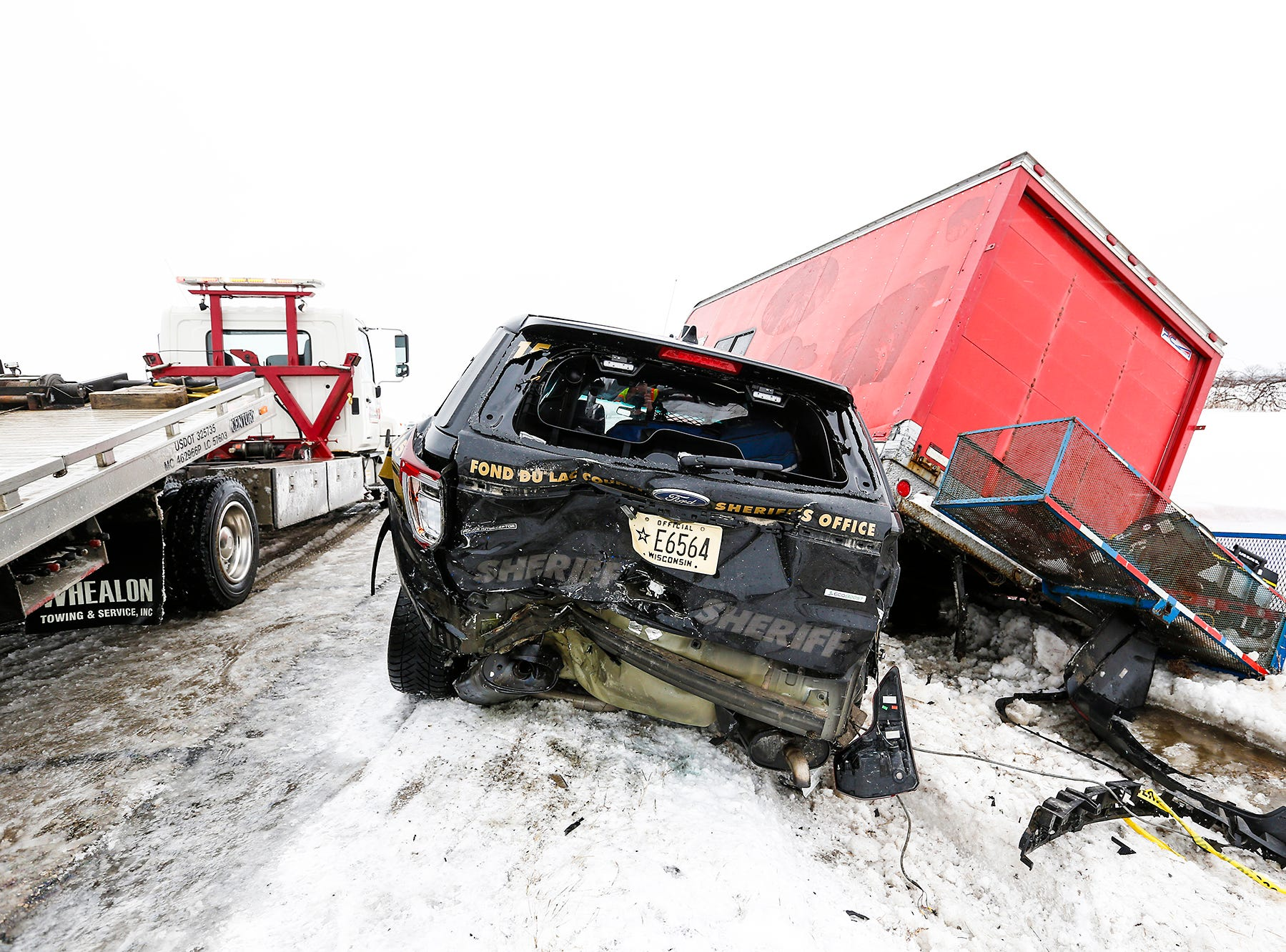 A Fond du Lac County Sheriff's Office squad car, along with two other vehicles was involved in a crash Sunday, February 24, 2019, on Interstate 41 near County Highway F south of Fond du Lac, Wisconsin. Doug Raflik/USA TODAY NETWORK-Wisconsin