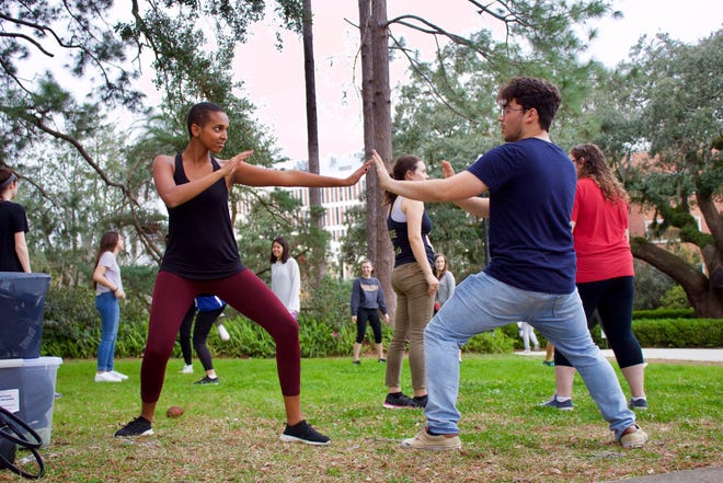 Florida State students participating in a recent self-defense class on Landis Green.