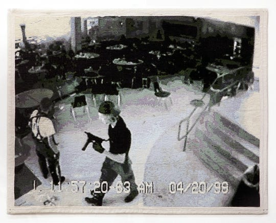 """Mason's work, """"Nothing Much Happened Today (for Eric and Dylan),"""" is a stitched, pixel-perfect representation of a screenshot from Columbine surveillance video."""