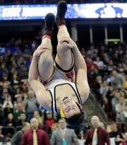 Luxemburg-Casco's Reece Worachek celebrates his victory over Spooner/Webster's Chase Melton in the Division 2 170-pound championship match Saturday at the WIAA state individual wrestling tournament at the Kohl Center in Madison.