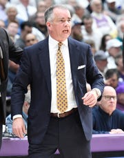 Wofford head basketball coach Mike Young directs his team against Furman Saturday, February 23, 2019 at Timmons Arena.