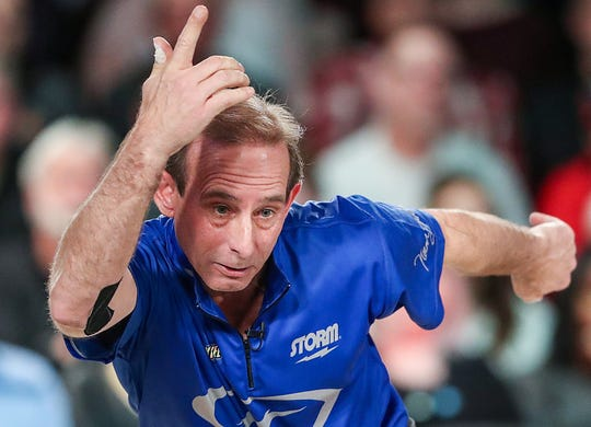 Norm Duke finishes the ninth frame with a ten-pin lead over Jason Belmonte in finals of the Go Bowling! PBA Indianapolis Open title at Woodland Bowl on Sunday, Feb. 24, 2019. Duke won, 237-219.