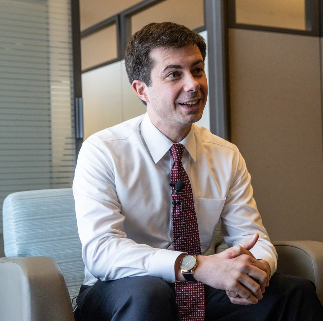 "Presidential candidate and South Bend Mayor Pete Buttigieg speaks with the IndyStar during his ""Shortest Way Home"" book tour stop at Hine Hall on the IUPUI campus, Sunday, Feb. 24, 2019."