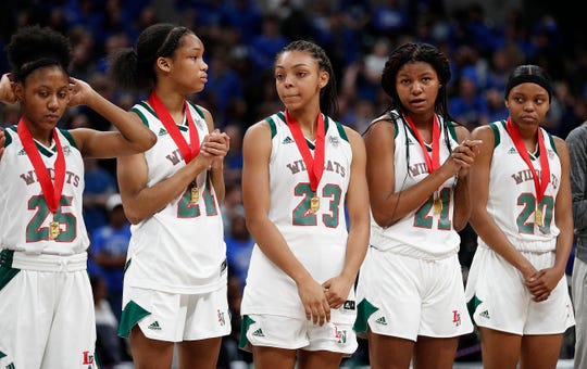 The Lawrence North Wildcats following the IHSAA Girls Basketball Class 4A State Championship game at Bankers Life Fieldhouse on Saturday, Feb 23, 2019. The Hamilton Southeastern Royals  defeated the Lawrence North Wildcats 55-44.