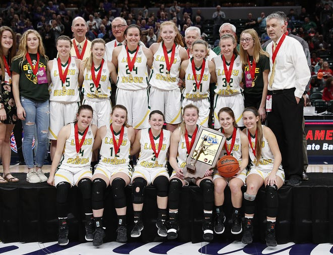 The Benton Central Bison following their IHSAA Girls Basketball Class 3A State Championship game at Bankers Life Fieldhouse on Saturday, Feb 23, 2019. The Northwestern Tigers defeated the Benton Central Bison 61-39.